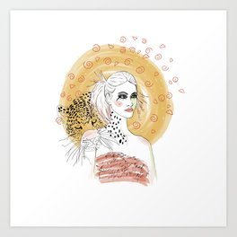 Girl and Leopard Art Print