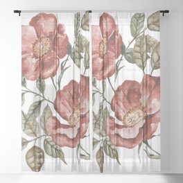 Red Floral Painting Sheer Curtain