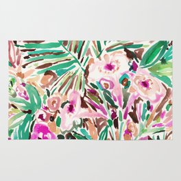 PLEASURE POINT Tropical Watercolor Floral Rug