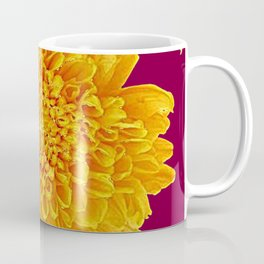 Golden Yellow Chrysanthemums Burgungy Art Design Coffee Mug