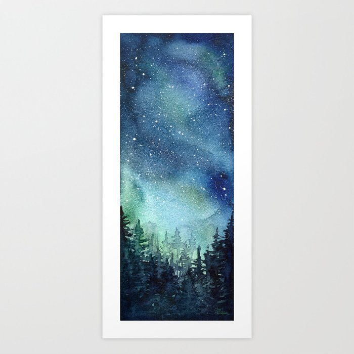 Galaxy Watercolor Aurora Borealis Painting Kunstdrucke