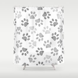 Black and grey paw print pattern Shower Curtain