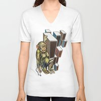 ape V-neck T-shirts featuring Ape by VikaValter