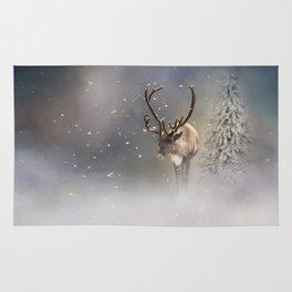 Santa Claus Reindeer in the snow Rug