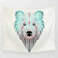 polar bear Wall Tapestries featuring polar bear by Manoou