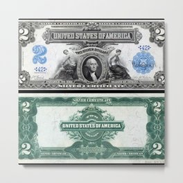 1899 U.S. Federal Reserve Two Dollar Bank Note Silver Certificate Metal Print
