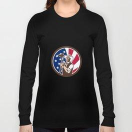 American Organic Farmer USA Flag Icon Long Sleeve T-shirt