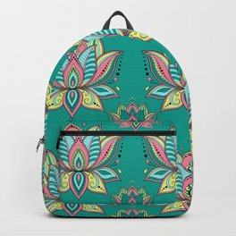 Lotus Mandala Doodle Green Pattern Backpack