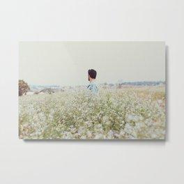 Man - Flowers - Field - Photography Metal Print