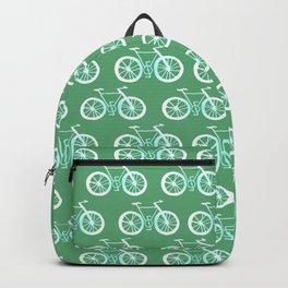 Bike Pattern White and Green Backpack
