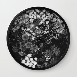 The Flowers (Black and White) Wall Clock