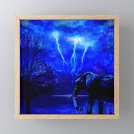 ELEPHANT LIGHTNING AND AFRICAN NIGHTS Framed Mini Art Print