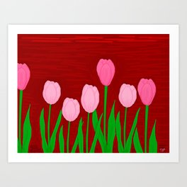Seven Tulips Art Print