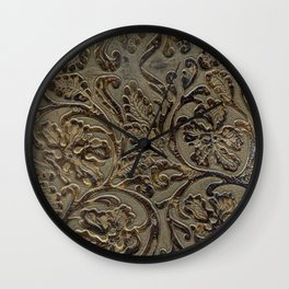 Olive & Brown Tooled Leather Wall Clock