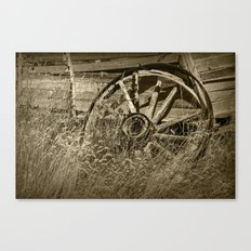 Sepia Toned Photo of an Old Broken Wheel Canvas Print