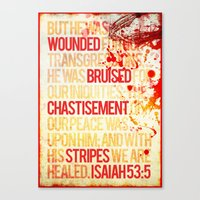 bible verses Canvas Prints featuring Typographic Motivational Bible Verses - Isaiah 53:5 by The Wooden Tree