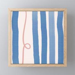 Blue Coral Stripes Framed Mini Art Print