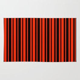 Bright Red and Black Vertical Var Size Stripes Rug