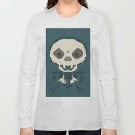 skull and bone graffiti drawing with green background Long Sleeve T-shirt