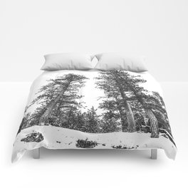 Snowscape Sky // Winter Trees Black and White Landscape Snow Ski Snowboard Photography Comforters