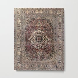 Antique Persia Doroksh Old Century Authentic Dusty Dull Blue Gray Green Vintage Rug Pattern Metal Print
