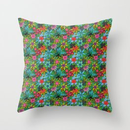 Pattern kitties and flowers Throw Pillow