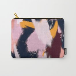 Shadow: an abstract, minimal mixed-media piece in blues and pinks by Alyssa Hamilton Art Carry-All Pouch