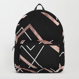Rose Gold Black Linear Triangle Abstract Pattern Backpack