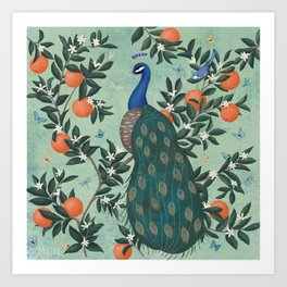 Tropical Peacock Chinoiserie With Oranges Art Print