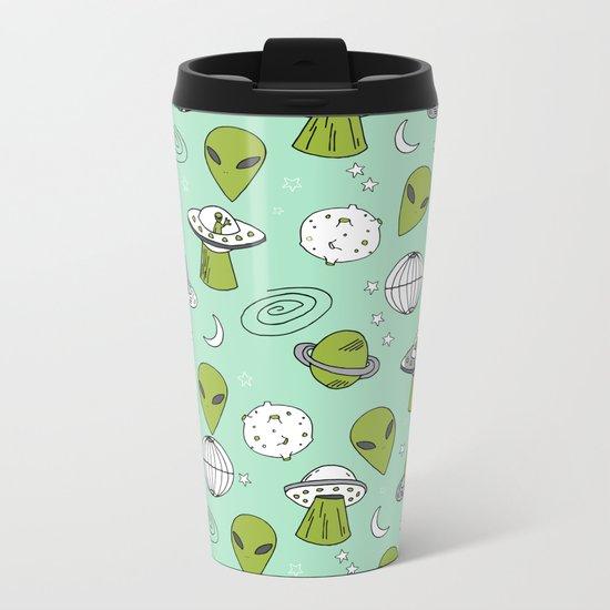 Alien outer space cute aliens french fries rad sodas pattern print mint Metal Travel Mug