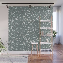 Branches and leaves in sage color Wall Mural