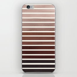 Watercolor Gouache Mid Century Modern Minimalist Colorful Raw Umber Stripes iPhone Skin