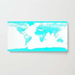 world MAp Aqua Blue Metal Print
