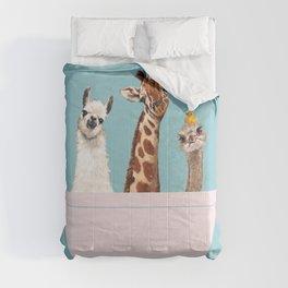 Playful Gangs in Bathtub Blue Comforters