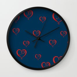Polka Heart Party, Blue Wall Clock