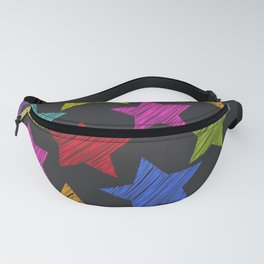 Sketch pattern with stars. Red green orange pink lilac blue stars on black background Fanny Pack