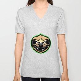 Angry Sloth Mascot Unisex V-Neck