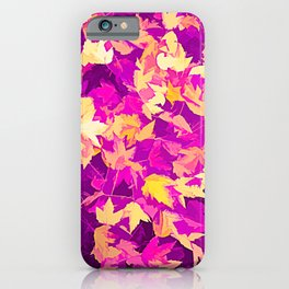 Autumn Leaves (pink & yellow) iPhone Case
