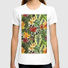 Tropical Vintage Exotic Jungle Flower Flowers - Floral watercolor pattern T-shirt
