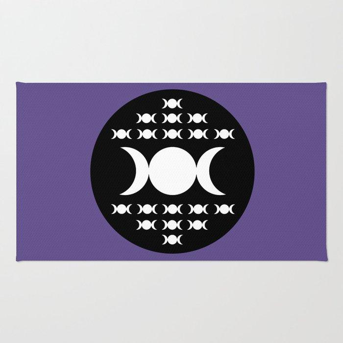 Triple Moon Goddess - White, Black and Ultra Violet Rug