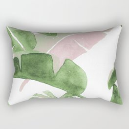 Tropical Leaves Green And Pink Rectangular Pillow