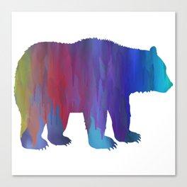 Rainbow Watercolor Dripping Bear Canvas Print