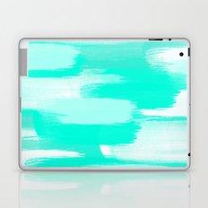 Modern turquoise teal watercolor brushstrokes pattern Laptop & iPad Skin