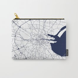 White on Navy Blue Dublin Street Map Carry-All Pouch