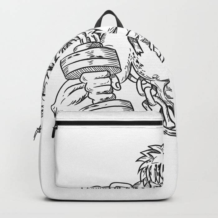 Buffed Athlete Dumbbells Breaking Free From Chains Drawing Backpack by  patrimonio
