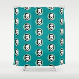 Edgar Allan Poe-ka Dots Teal Shower Curtain