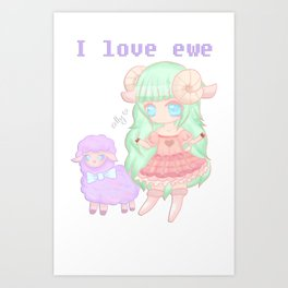 I love ewe Art Print