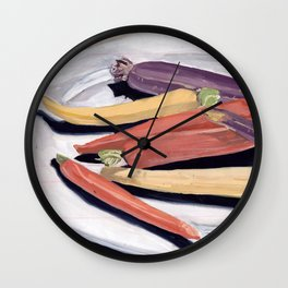 Tri-Color Baby Carrots in Gouache Wall Clock