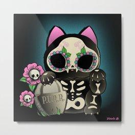 Lucky Cat De los Muertos Metal Print