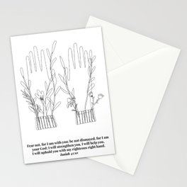 Fear Not, For I am With You ... Hands Line Art Sketch Isaiah 41:10 Stationery Cards